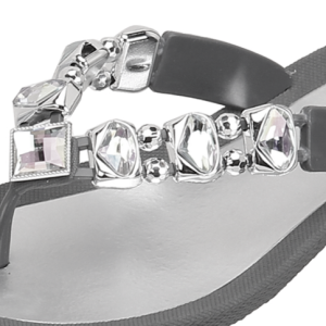 Grandco Sandals in Gray - Jeweled Sandals